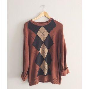 Rusty Argyle Oversized Sweater